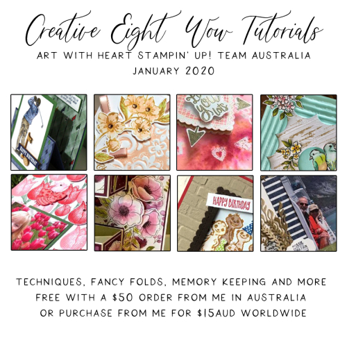 Get 8 Free WOW Tutorials when you spend $50 on Stampin Up products with me in January 2020.