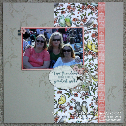Stampin Up 2019 Scrapbook Layout using Bird Ballad DSP. Page by Claire Daly, Stampin Up Demonstrator Melbourne Australia.