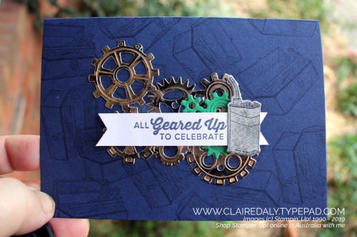 Stampin' Up! Geared Up Garage Masculine card 2019 Annual Catalogue. Card by Claire Daly, Stampin' Up! Demonstrator, Melbourne Australia.