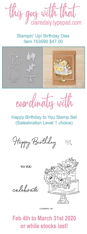 Stampin Up dies that coordinate with Happy Birthday to You Saleabration 2020 stamp set.