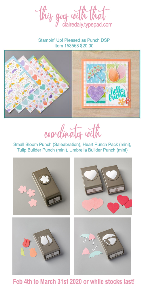 Stampin Up DSP paper that coordinates with Tulip Builder Punch, Umbrella Builder Punch, Heart Punch Pack (all in 2020 January to June mini catalogue) and Small Blooms Punch (2020 Saleabration)