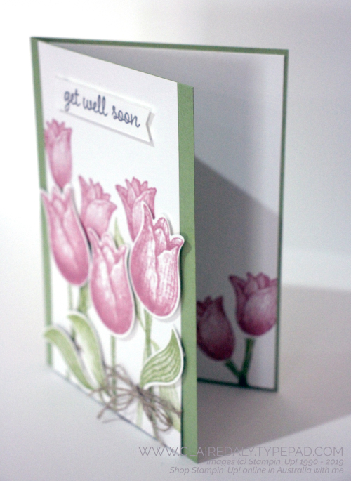 Stampin Up Timeless Tulips bundle and tulip builder punch from 2020 January to June mini catalogue. Get Well Card by Claire Daly, Stampin' Up! Demonstrator, Melbourne Australia