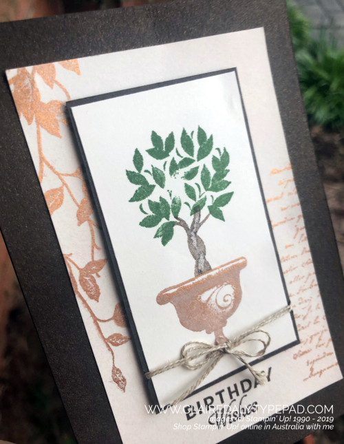 Video on blog. Stampin Up Very Versailles (2019 Annual) and Beauty and Joy (2019 Holiday) with Delicata mettalic ink used two wats.
