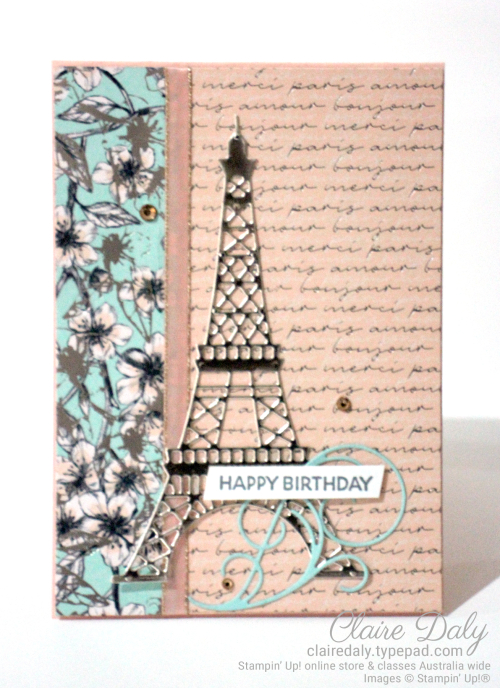 Stampin Up 2020 January to June Mini Parisian Beauty stamp set birthday card by Claire Daly, Stampin Up Demonstrator, Melbourne Australia.