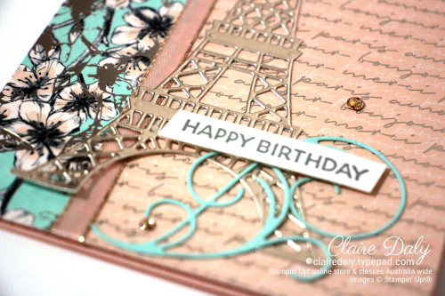 Stampin Up 2020 January to June Mini Parisian Beauty stamp set birthday card by Claire Daly, Stampin Up Demonstrator, Melbourne Australia