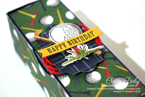 Golf Ball Box using Stampin Up Country Club Suite 2020 Janaury Mini. Claire Daly, Independent Demonstrator Melbourne Australia.