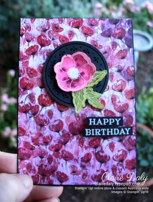 Stampin Up Peaceful Poppies birthday card using Painted Poppies stamp set. By Claire Daly, Stampin Up Demonstrator Melbourne Australia.