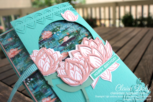 Stampin Up Window Fold Lovely Lilypad Fun Fold Card. Claire Daly, Stampin Up Demonstrator Melbourne Australia.