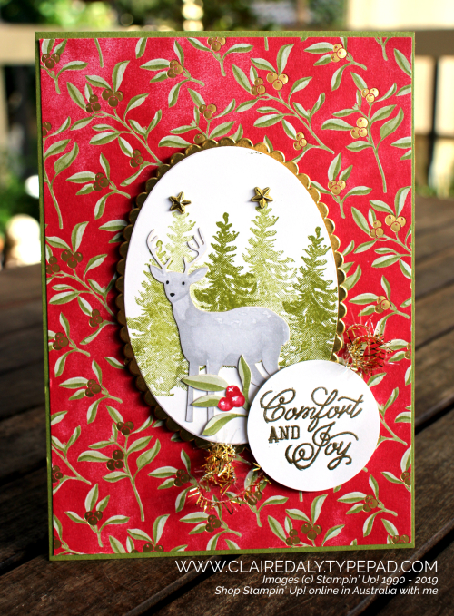 Christmas card using Stampin Up Most Wonderful Time product medley from 2019 Holiday Catalogue. By Claire Daly, Stampin' Up! Demonstrator, Melbourne Australia.
