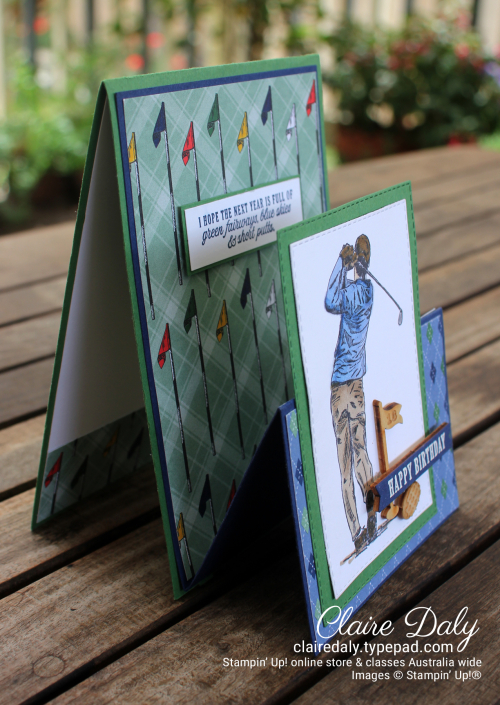 Stampin Up Country Club Suite / Clubhouse stamp set & bundle double easel fun fold card by Claire Daly, Stampin Up Demonstrator Melbourne Australia.