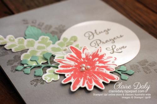 Stampin Up Positive Thoughts Stamp Set card by Claire Daly, Stampin' Up! Demonstrator Melbourne Australia. Get the coordinating dies by March 31st using links in post.