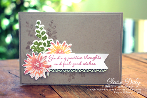 Stampin Up Positive Thoughts Stamp Set and Natures Thoughts Dies. Card by Claire Daly Stampin Up Demonstrator Melbourne Australia.