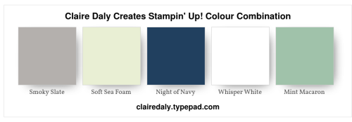 Stampin Up Color/Colour Combination 2020 Smoky Slate, Soft Sea Foam, Night of Navy, Mint Macaron