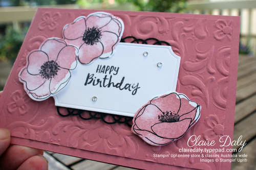 Stampin Up Painted Poppies Bundle and Parisian Flourish embossing folder. Card by Claire Daly, Stampin' Up! Demonstrator Melbourne Australia.