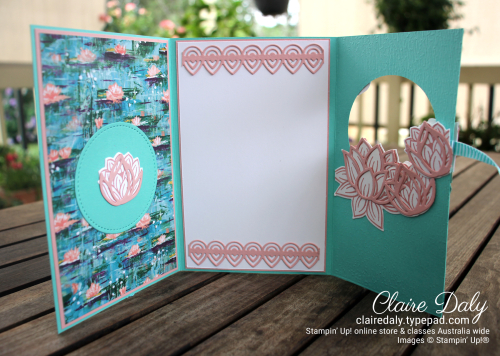 Stampin Up Fun Fold Lovely Lilypad trifold card by Claire Daly, Stampin Up demonstrator Melbourne Australia.