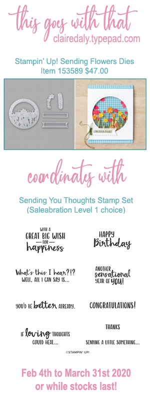 Stampin Up dies that coordinate with Sending You Thoughts Saleabration 2020 stamp set