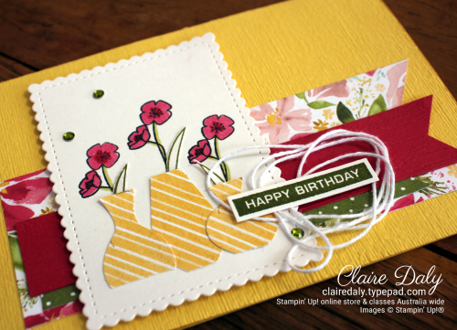Stampin Up Vase Builder Punch / Banner Triple Punch card by Claire Daly Stampin Up Demonstrator Melbourne Australia
