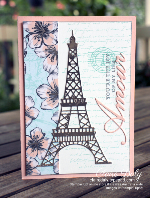 Stampin' Up! Parisian Blossoms suite card by Claire Daly, Stampin Up Demonstrator Melbourne Australia.