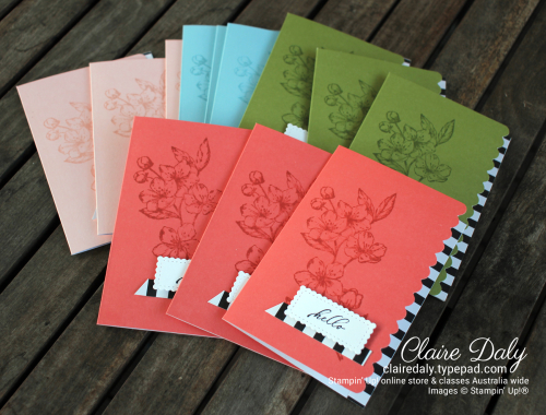 Stampin Up Forever Blossoms Scalloped Note Cards 2020. By Claire Daly Stampin Up Demonstrator Melbourne Australia.