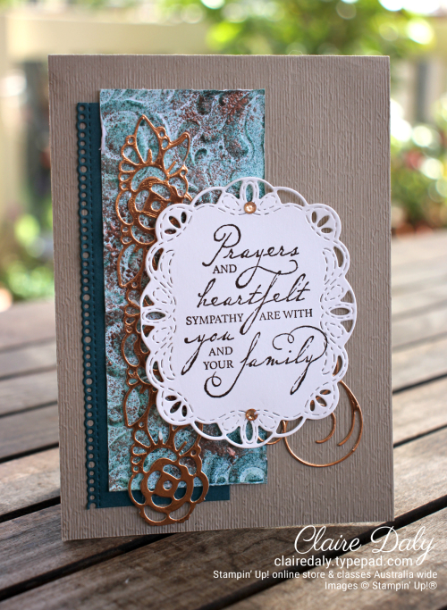 Faux patina stamping technique using Stampin Up Parisian Flourish embossing folder. 2020 sympathy card by Claire Daly, Stampin' Up! Demontrator Melbourne Australia