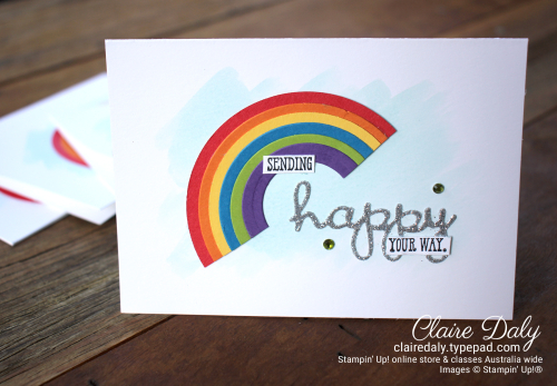 Rainbow Card for #YCC105 bu Claire Daly Stampin Up Demonstrator Melbourne Australia