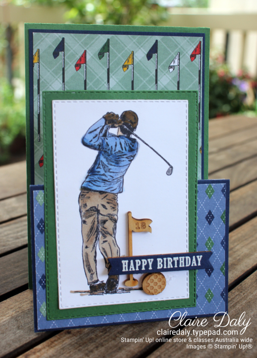 Golf themed  birthday card 2020 using Country Club suite. By Claire Daly Stampin Up Demonstrator Melbourne Australia