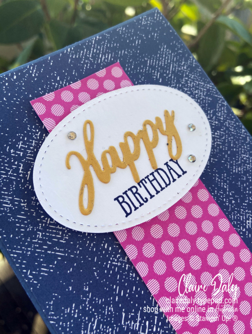 Stampin' Up! 2020 New Incolour Misty Moonlight birthday card by Claire Daly Stampin' Up! Demonstrator Melbourne Australia.