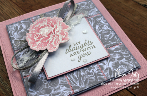 Stampin Up Prized Peony stamp set 2020 card by Claire Daly Stampin' Up! Demonstrator Melbourne Australia