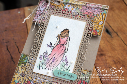 Stampin Up Beautiful Moments   Ornate Garden split panel card. Claire Daly, Stampin' Up! Demonstrator Melbourne Australia