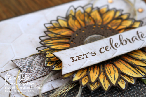 Celebrate Sunflowers Stampin Up stamp set coloured with Stampin Blends. 2020 card by Claire Daly, Stampin Up Demonstrator Melbourne Australia.