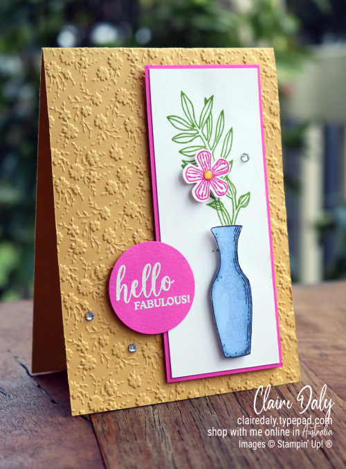 Basket of Blooms stamp set by Stampin' Up!. 2020 card by Claire Daly, Stampin Up demonstrator Melbourne Australia.