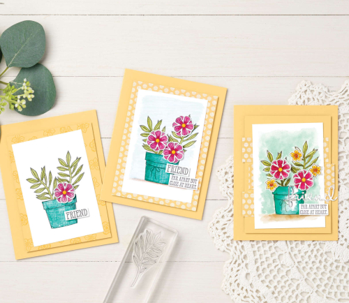 Stampin Up Basket of Blooms designer samples.