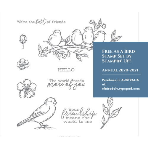 Stampin Up Free as a Bird stamp set available in my online store in Australia. Claire Daly, Stampin Up Demonstrator Melbourne Australia