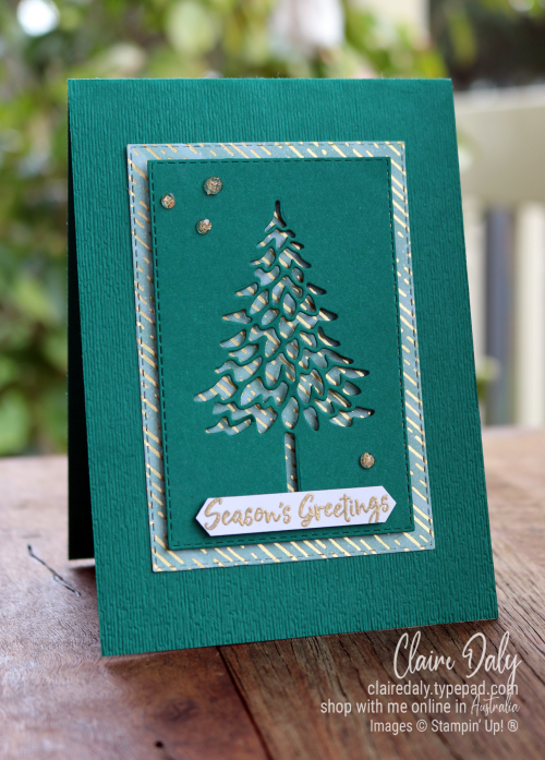 Quick and easy Stampin Up! In the Pines 2020 Christmas Card by Clire Daly Stampin Up Demonstrator Melbourne Australia.