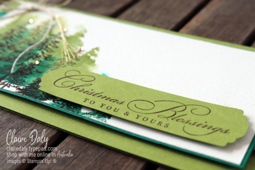 Stampin Up Slimline Christmas Card using In The Pines and Wrapped In Christmas stamp sets. 2020 card by Claire Daly, Stampin' Up! Demonstrator Melbourne Australia
