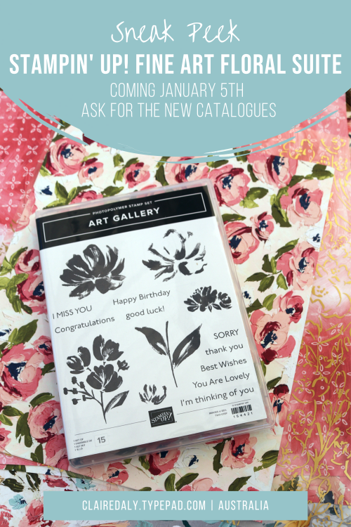 Stampin Up NEW Fine Art Floral Suite, coming January 5th 2021. Available in Australia from Claire Daly, Stampin' Up! Demonstrator. Request your free 2021 Stampin' Up! paper catalogues.