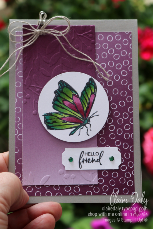 Friends Card using Touch of Ink stamp set and Oh So Ombre DSP from Stampin Up Saleabration 2021. Card by Claire Daly, Stampin Up Demonstrator Melbourne Australia.