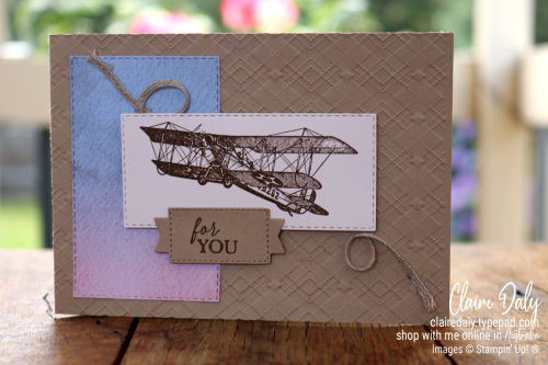 Stampin' Up! Soar Confidently Stamp Set and Absolutely Argyle Embossing Folder. 2021 card by Claire Daly, Stampin' Up! Demonstrator Melbourne Australia.