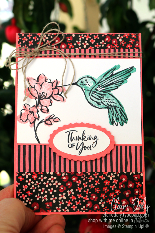 Stampin Up 2021 Thinking of You card using Touch of Ink Saleabration stamp set.