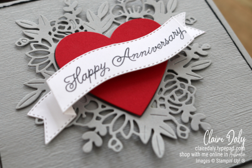 Handmade Anniversary card using Stampin Up Always in my Heart. 2021 card by Claire Daly Stampin Up Demonstrator Melbourne Australia