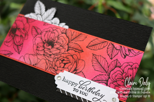 Stampin Up Blending Brushes with True Love DSP. 2021 handmade card by Claire Daly, Stampin Up Demonstrator Melbourne Australia