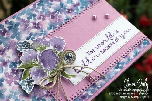 Stampin Up Hydrangea Haven 2021 Mothers Day Card by Claire Daly Stampin Up Demonstrator Melbourne Australia.