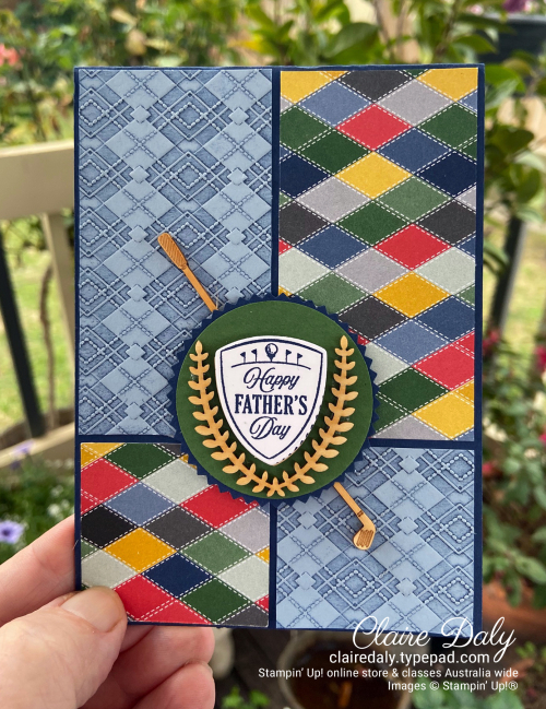 Golf themed  fathers day card 2020 using Country Club suite. By Claire Daly Stampin Up Demonstrator Melbourne Australia