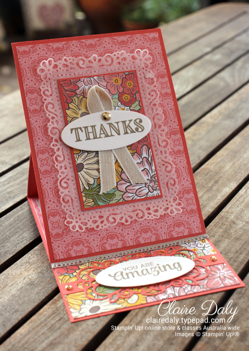 Stampin Up 2020 Ornate Garden Easel Card - Claire Daly, Stampin' Up! Demonstrator Melbourne Australia.
