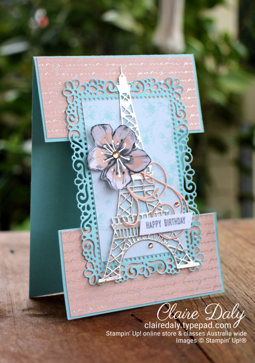 Parisian Beauty and Ornate Layers 2020 Split Panel Card Stampin Up - Claire Daly, Independent Stampin Up Demonstrator Melbourne Australia. YCC#107