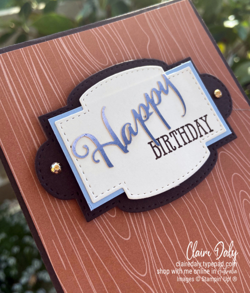 Stampin Up 2020 Cinnamon Cider In Colour / Color masculine birthday card by Claire Daly, Stampin' Up! Deonstrator Melbourne Australia