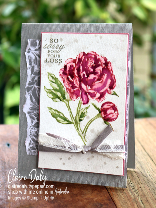 Video Tutorial Prized Peony Watercolouring. Claire Daly, Stampin Up Demonstrator Melbourne Australia.