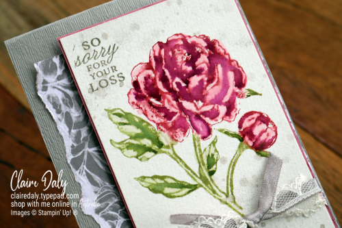 Prized Peony stamp set Stampin Up. Watercoloured (video tutorial), Claire Daly | 2020 | Stampin Up Dempnstrator, Melbourne Australia