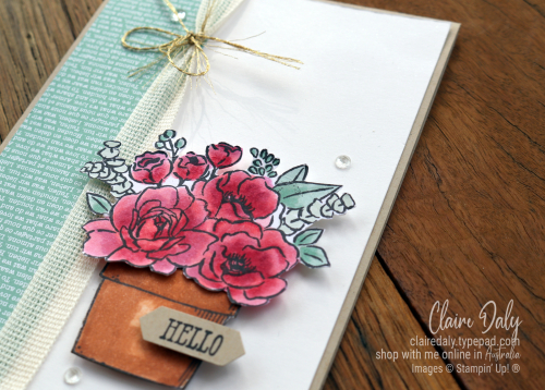 Stampin' Up! Jar of Flowers and Basket of Blooms stamp set coloured with Stampin Blends. 2020 card by Claire Daly, Stampin Up Demonstrator melbourne Australia.