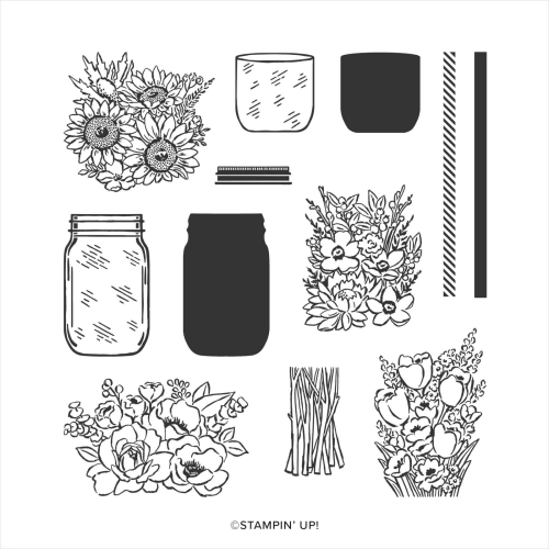 Jar of Flowers stamp set. Buy online in Australia.